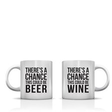 Better Together 2 Piece There's a Chance Beer Wine Coffee Mug Set