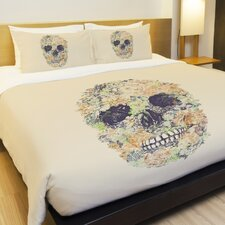 Muertos Skull Flowers 2 Fleece Duvet Cover
