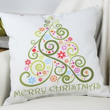 Merry Christmas Whimsical Tree Throw Pillow