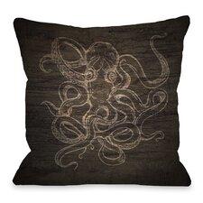 Octopus Wood Sketch Throw Pillow