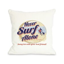 Doggy Décor Never Surf Alone Round Throw Pillow