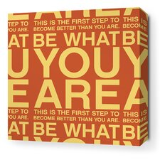 Stretched You Are Textual Art on Wrapped Canvas in Orange