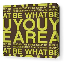 Stretched You Are Textual Art on Wrapped Canvas in Lime and Chocolate
