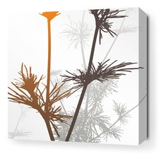 Morning Glory Prairie Stretched Graphic Art on Wrapped Canvas in Rust and Charcoal