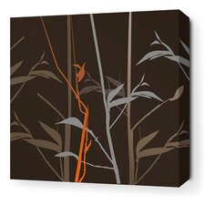 Morning Glory Tall Grass Stretched Graphic Art on Wrapped Canvas in Charcoal and Rust
