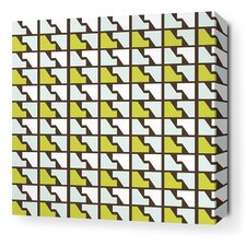 Estrella Faux Houndstooth Stretched Graphic Art on Wrapped Canvas in Grass