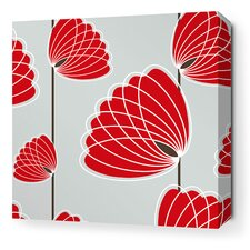 Aequorea Lotus Graphic Art on Wrapped Canvas in Silver and Scarlet