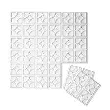 "Luna Wall Flats 18"" x 18"" Geometric 3D Embossed 10 Piece Panel Wallpaper (Set of 10)"