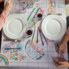 The Doodle Cotton Tablecloth with Wash-Out Pens