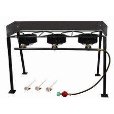 Tall Rectangular Outdoor Three  Burner Camp Stove Package