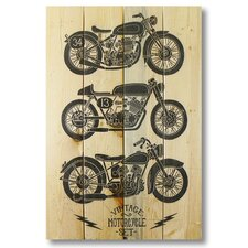 4 Piece Wile E. Wood Vintage Motorcycle Graphic Art Set