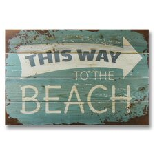 4 Piece Wile E. Wood This Way to the Beach Graphic Art Set