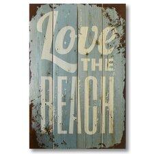 4 Piece Wile E. Wood Love the Beach Textual Art Set