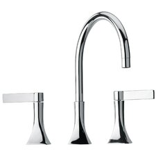 J17 Bath Series Two Blade Handle Widespread Bathroom Faucet with Goose Neck Spout