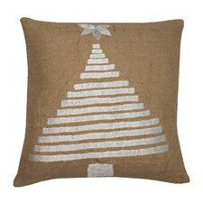 Holiday Tree Jute Throw Pillow