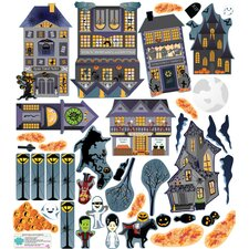 Fall Holidays Halloween Village Wall Decal Set