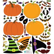 Fall Holidays Pumpkin Dress Up Wall Decal Set