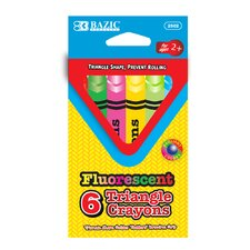 6 Fluorescent Color Triangle Crayon (Set of 24)