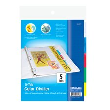 3-Ring Binder Divider with 5-Insertable Color Tabs