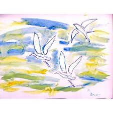 'Three Gulls' by Betsy Drake Painting Print on Canvas