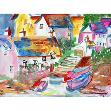 'Boats At Steps' by Betsy Drake Painting Print on Canvas