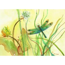 Garden Dragonfly Painting Print on Canvas