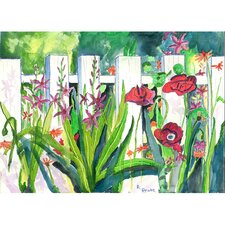 Garden Fence and Flowers Painting Print