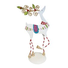 Christmas Tabletop Ornate Reindeer with Dots Figurine