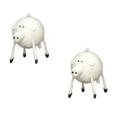 Holiday Glittered Bead Pig Ornament (Set of 2)