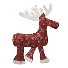 Holiday Glittered Embossed Moose Ornament (Set of 2)