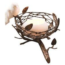 Single Nest with Fine Bone China Bird & Egg Tealight