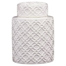 Ceramic Jar with Lid and Patterned Design Gloss White