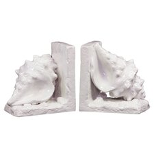 Ceramic Conch Seashell Gloss Turquoise (Set of 2)