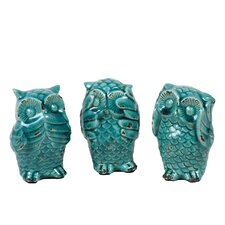 3 Piece Ceramic Owl No Evil Figurine Set