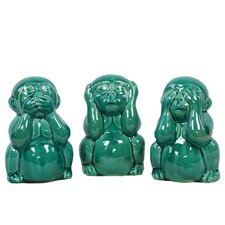 Ceramic 3 Piece Monkey See, Hear, Speak No Evil Set