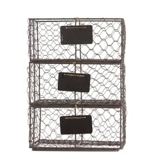 Metal Wire Basket with Mesh Sides and Name Tags (Set of 3)
