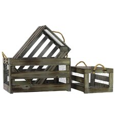 Wooden Storage Box with Mesh Sides and Rope Handles Set of Three Tinted Wood Finish