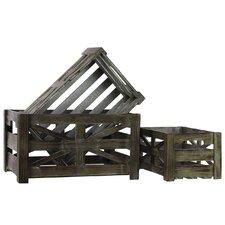 Wooden Storage Box Set of Three Tinted Wood Finish