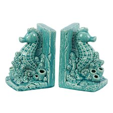 Ceramic Sea Horse Bookend Gloss Turquoise (Set of 2)
