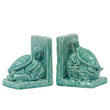 Ceramic Sea Turtle Bookend Gloss Turquoise (Set of 2)
