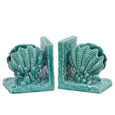 Ceramic Giant Clam Seashell Bookend Gloss Turquoise (Set of 2)