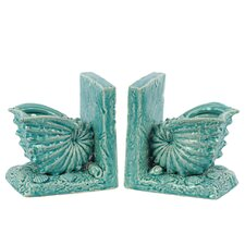 Ceramic Nautilus Seashell Gloss Turquoise (Set of 2)