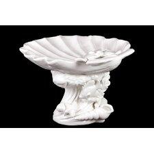 Ceramic Giant Clam Seashell Platter on Marine Life Pedestal Gloss White