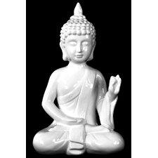 Ceramic Meditating Buddha in Abhaya Mudra Gloss White