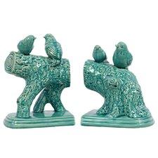 Ceramic Birds Standing on a Stump Gloss (Set of 2)