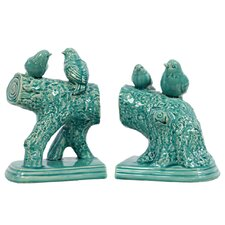 Ceramic Birds Standing on a Stump Gloss (Set of 2)