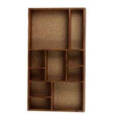 Wood Wall Shelf with 10 Shelves and Burlap Backing Washed Wood Finish