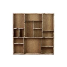 Wood Wall Shelf with 14 Shelves and Burlap Backing Distressed White