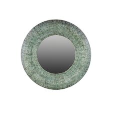 Metal Round Wall Mirror in Pierced Metal Verdigris