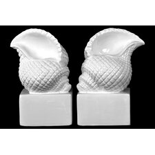 Ceramic Conch Seashell with Base Bookend (Set of 2)